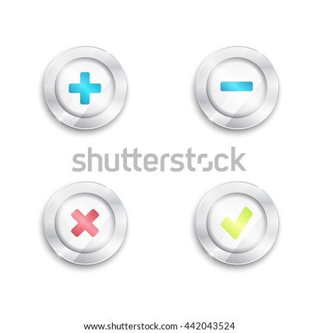Yes no and plus minus buttons. Tick and cross. round banners. 3d. silver elements with glass surface. green red blue. - stock vector