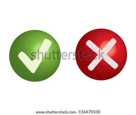 Yes/No buttons - stock vector