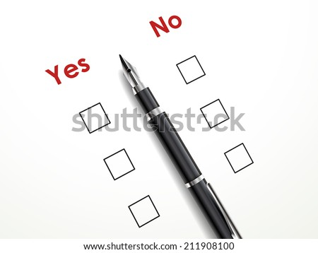 yes no check box with a pen over white paper - stock vector