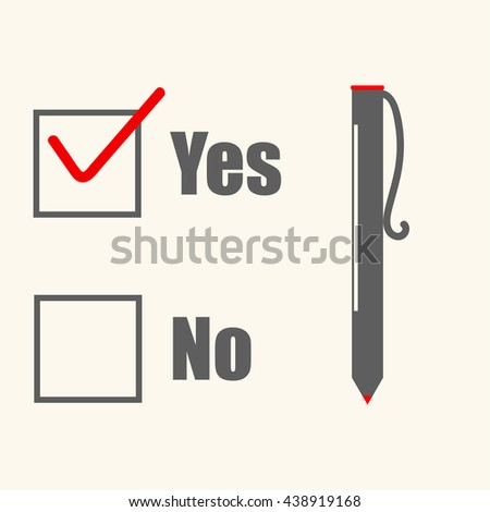 Yes no checked with red marker line, yes selected with red tick and circled, concept of motivation, voting, test, positive answer, poll, selection, choice modern vector illustration design on white. - stock vector