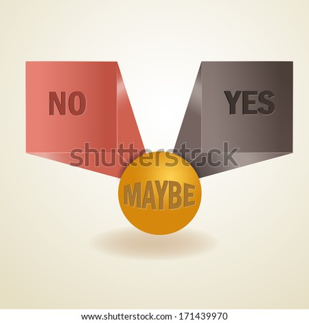 Yes, no, maybe, 3d sign in vector format - stock vector
