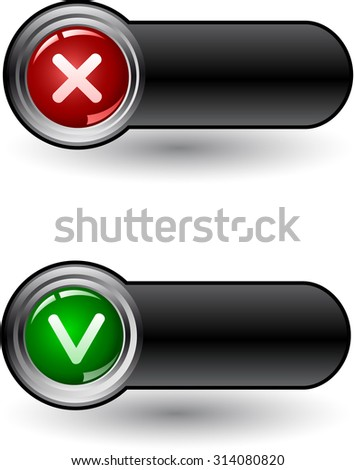 Yes on nor check icons, vector - stock vector