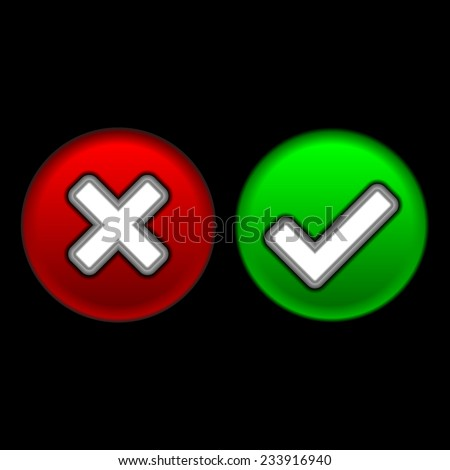 Yes or No buttons. Vector illustration. - stock vector