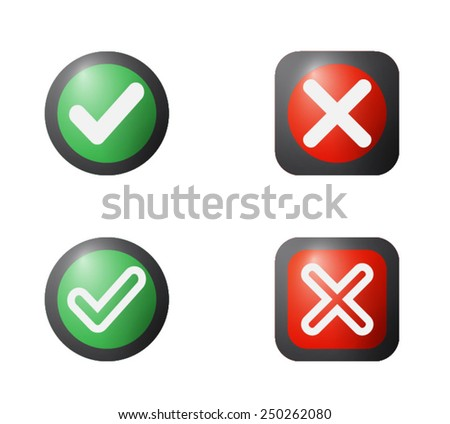 Yes or No Icons, Green and Red Validation button vector - stock vector