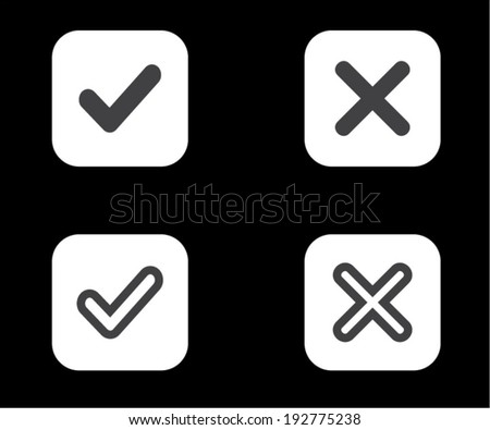 Yes or No icons, Validation button on black background vector - stock vector