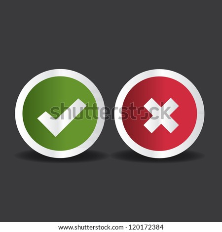 Yes or No icons vector - stock vector