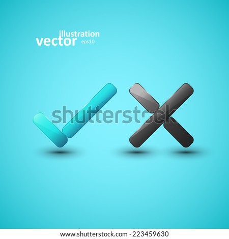 Yes or No icons, vector graphic design, stylish concept eps10 - stock vector