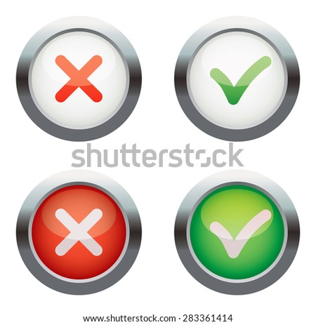 Yes or No. Vector icons. Isolated on white background. Set - stock vector