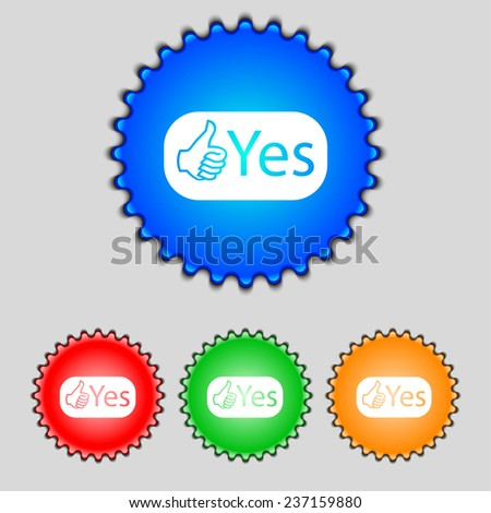 Yes sign icon. Positive check symbol. Set of colored buttons. Vector illustration