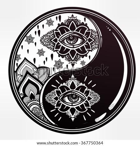 Yin and Yang boho symbol. - stock vector