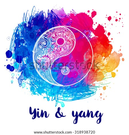 Yin and yang decorative symbol. Hand drawn vintage style design element. Alchemy, spirituality, occultism, textiles art. Vector illustration for t-shirt print over colorful watercolor background. - stock vector