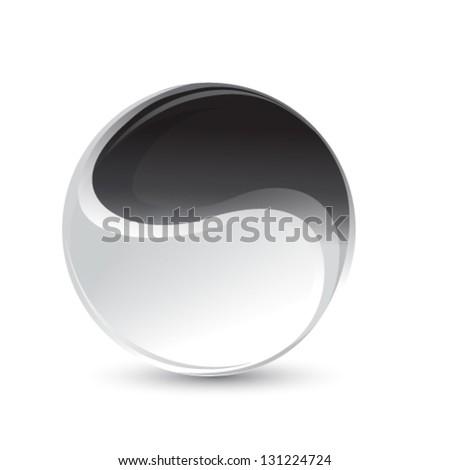 yin and yang symbol - stock vector