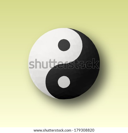 Yin and Yang symbol made with triangles. Vector design.