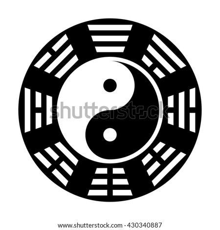 "Yin and yang symbol. Modern yin-yang symbol isolated on white background. Fu Xi ""Earlier Heaven"" bagua arrangement"