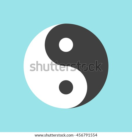 Yin and yang symbol on blue background. Harmony and balance concept. Flat design. Vector illustration. EPS 8, no transparency - stock vector
