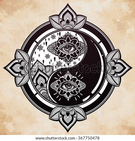 Yin and Yang trendy boho symbol. - stock vector
