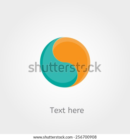 Yin Yan symbol, card with place for text - stock vector