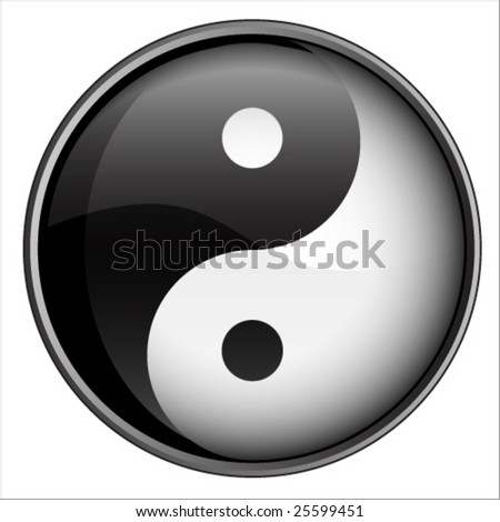Yin Yang Black And White Badge Vector Illustration - stock vector