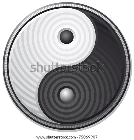 Yin Yang black and white symbol isolated on white background - vector - stock vector