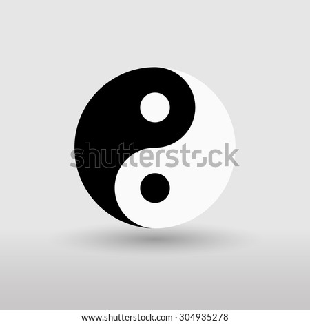 Yin Yang. Black and white. Yin yang vector. Isolated on gray background. - stock vector