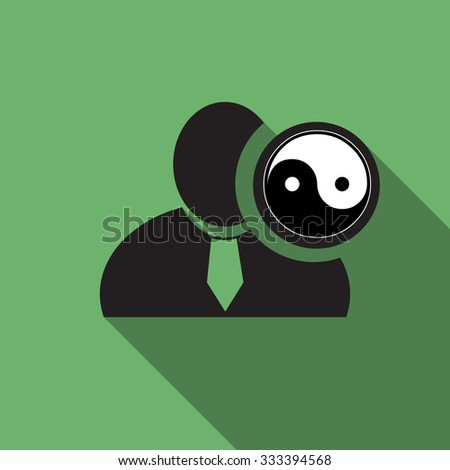Yin yang black man silhouette icon on the vintage green background, long shadow flat design icon for forums or web - stock vector