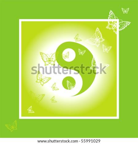 Yin Yang Butterflies Symbol - stock vector