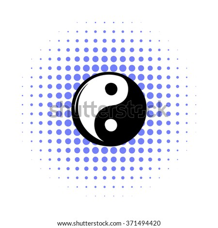 Yin yang comics icon on a white background - stock vector
