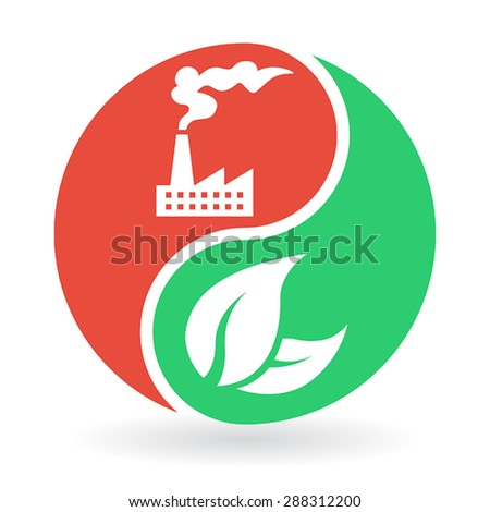 Yin Yang Concept - Factory industry and pollution vs environment and nature. Vector icon. - stock vector