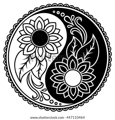 Yin-yang decorative symbol. Hand drawn vintage style design element. - stock vector