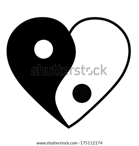 Yin yang heart - stock vector