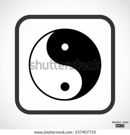 Yin yang icon - black vector illustration - stock vector