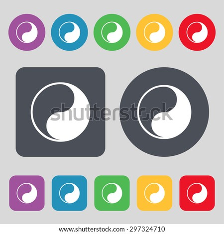 Yin Yang icon sign. A set of 12 colored buttons. Flat design. Vector illustration - stock vector