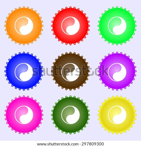 Yin Yang icon sign. A set of nine different colored labels. Vector illustration - stock vector
