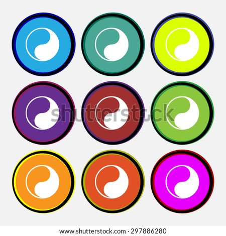 Yin Yang icon sign. Nine multi colored round buttons. Vector illustration - stock vector