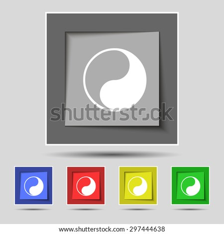 Yin Yang icon sign on original five colored buttons. Vector illustration - stock vector
