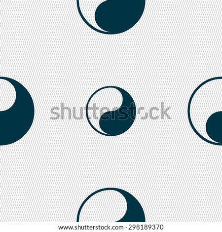 Yin Yang icon sign. Seamless pattern with geometric texture. Vector illustration - stock vector