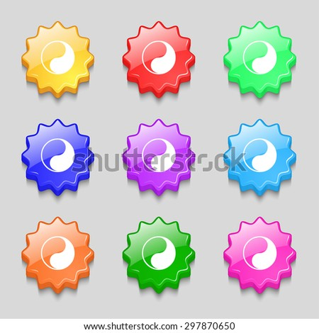 Yin Yang icon sign. symbol on nine wavy colourful buttons. Vector illustration - stock vector