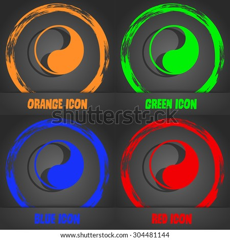 Yin Yang icon symbol. Fashionable modern style. In the orange, green, blue, green design. Vector illustration - stock vector