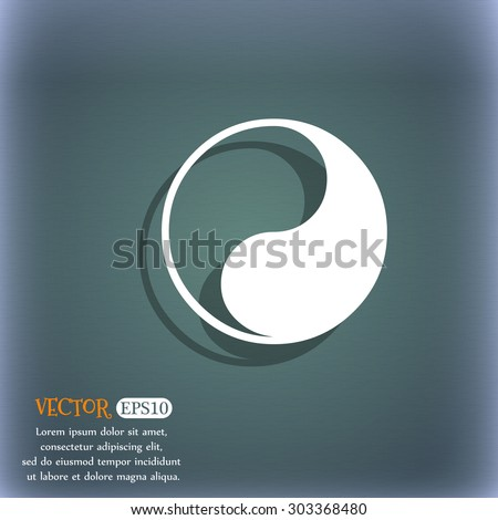 Yin Yang icon symbol on the blue-green abstract background with shadow and space for your text. Vector illustration - stock vector
