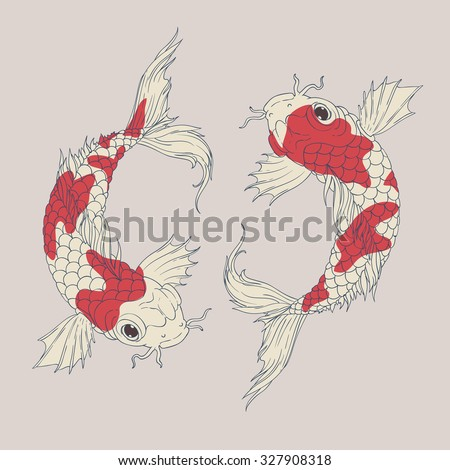 Yin Yang Koi fishes in oriental style painting. symbolize luck, fortune, or love.