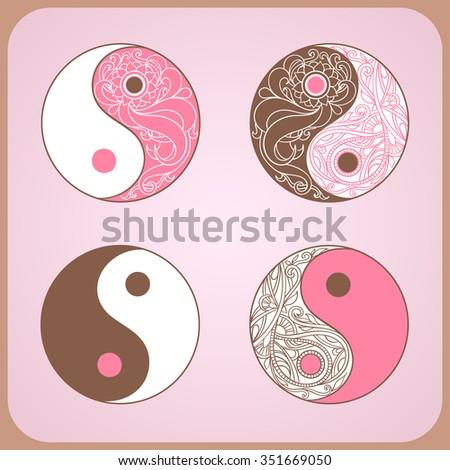 Yin Yang Set Symbols Allegory Opposites Stock Vector 351669050