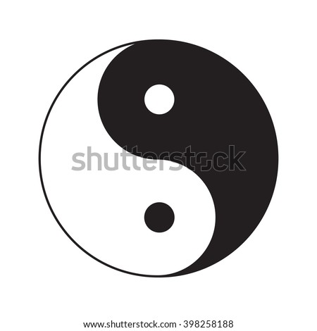 Yin Yang sign icon. White and black. Feng shui symbol. Isolated Flat design style. Vector illustration - stock vector