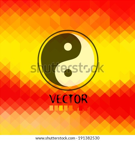 Yin Yang Sign . Japan abstract black circle. Vector. Vector - stock vector