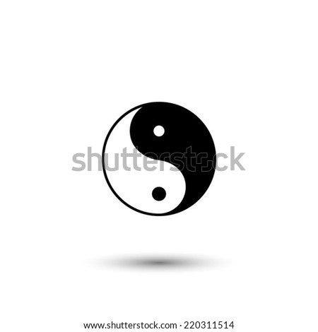 Yin yang symbol - black vector illustration - stock vector