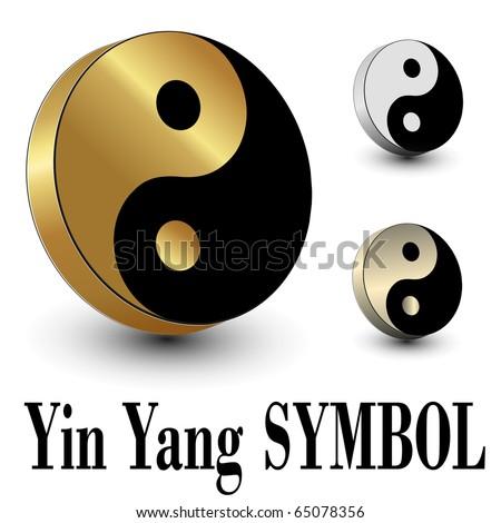 Yin Yang symbol 3d, vector. - stock vector