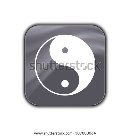 yin yang symbol icon - vector button - stock vector