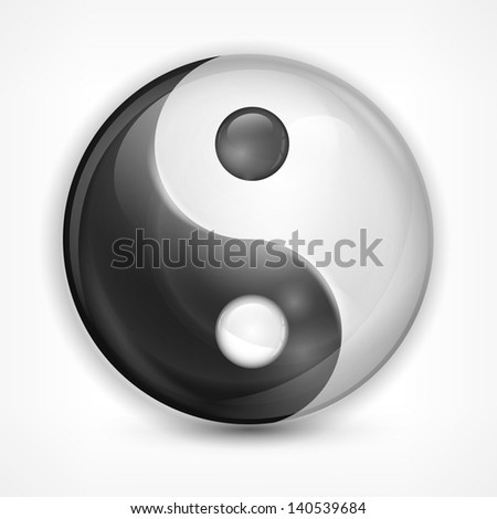 Yin yang symbol isolated on white, vector illustration . Vector Illustration.