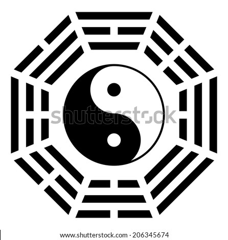 Yin yang symbol of harmony and balance eight direction vector - stock vector