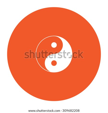 Yin yang symbol of harmony and balance. Flat white symbol in the orange circle. Vector illustration icon - stock vector