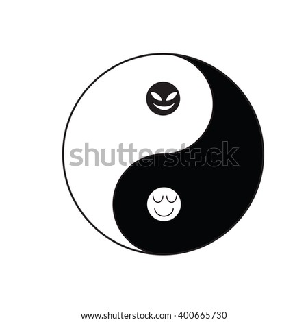 Yin-Yang symbol of Taoism religion in Chinese tradition with good and evil face in each color mean there is good in bad and bad in good in real ife - stock vector